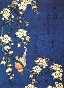 Hokusai Katsushika, Bullfinch and Weeping Cherry Blossoms